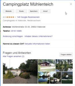 Campingplatz Mühlenteich